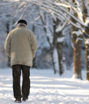 Back Of Older Male Adult Walking In Snowcovered Woods