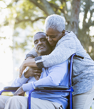 Older couple recovery after stroke